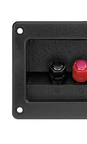 Borniers et cuvettes avec connectiques audio